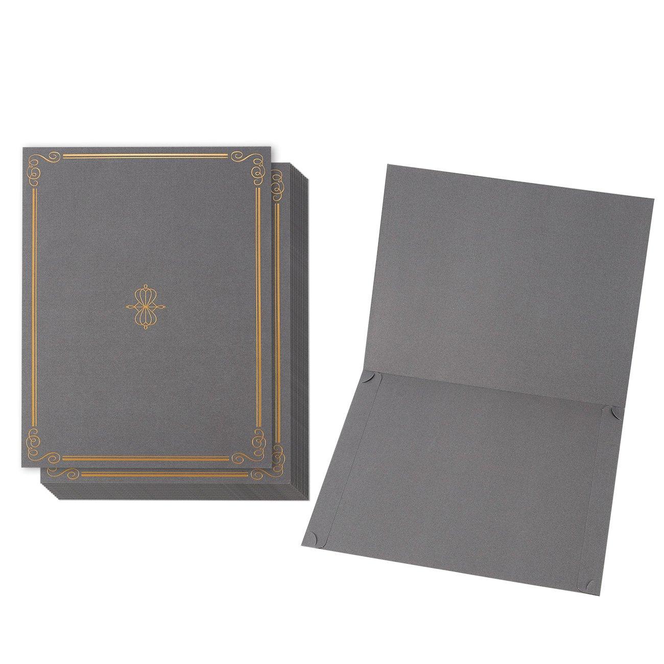 12-pack certificate Holder–diploma di documento, copertura per letter-sized Award certificati, grigio chiaro, lamina d' oro, 28,4x 22,4cm lamina d' oro Juvale