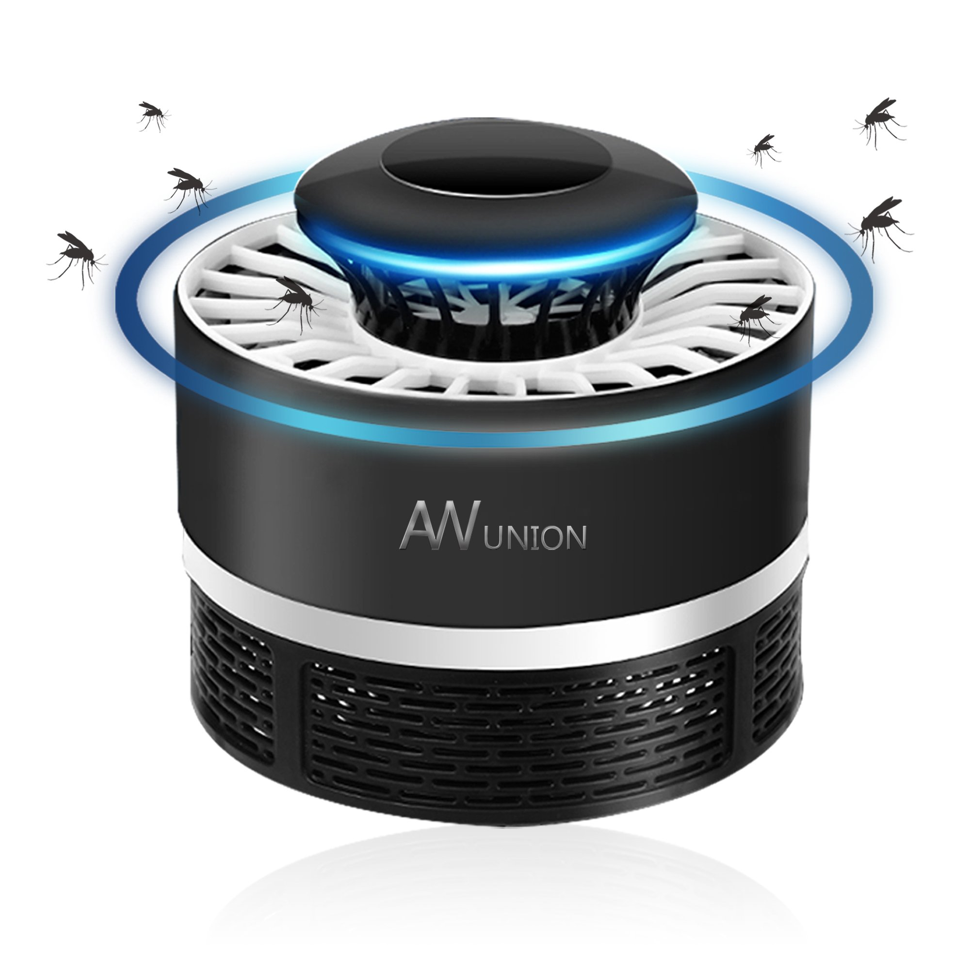 AW union Mosquito Zapper Mosquito Killer, USB Powered Mosquito Trap Lamp, Chemical-free UV LED Light Electric Bug Zapper, Photocatalyst Fly Bug Dispeller with Suction Fan for Indoor Home (Black)