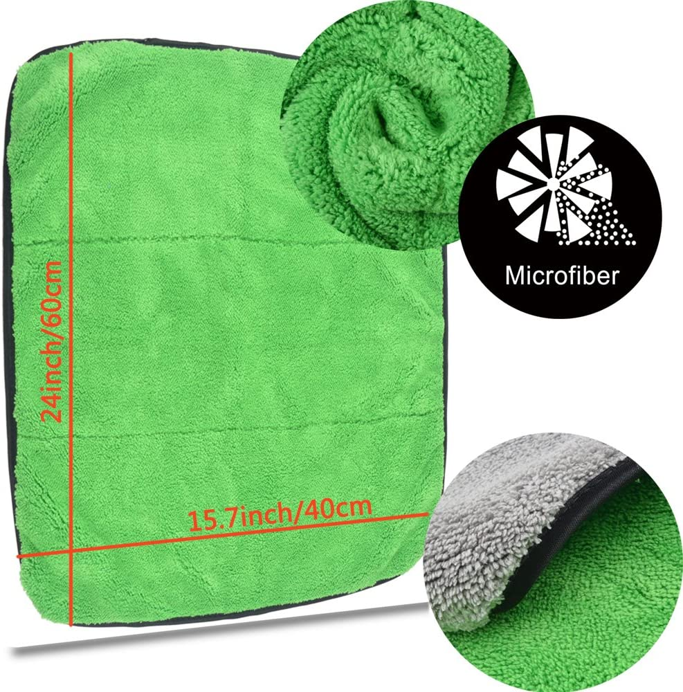 KinHwa Microfiber Car Cleaning Towels Ultra Thick Car Drying Towel Super Absorbent Car Wash Towels Drying Double Layers Plush 16Inch x 24Inch 2 Pack Green//Grey