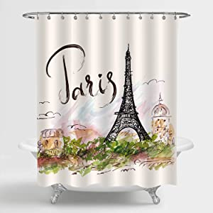 MitoVilla Paris Eiffel Tower Shower Curtain Set with Hooks, Watercolor Hand Brush European Cityscape Travel Landmark Scenic Home Decor, Colorful, 72