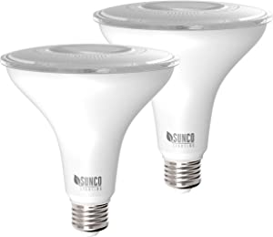 Sunco Lighting 2 Pack PAR38 LED Bulb with Dusk-to-Dawn Photocell Sensor, 15W=120W, 2700K Soft White, 1250 LM, Auto On/Off, Security Flood Light Indoor/Outdoor - UL