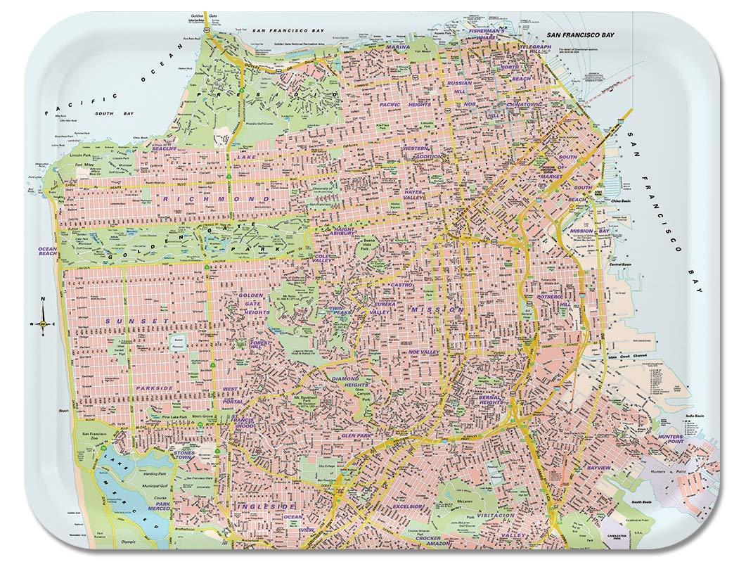 Amazon.com: Trays4Us San Francisco Street Map Birch Wood Veneer ...