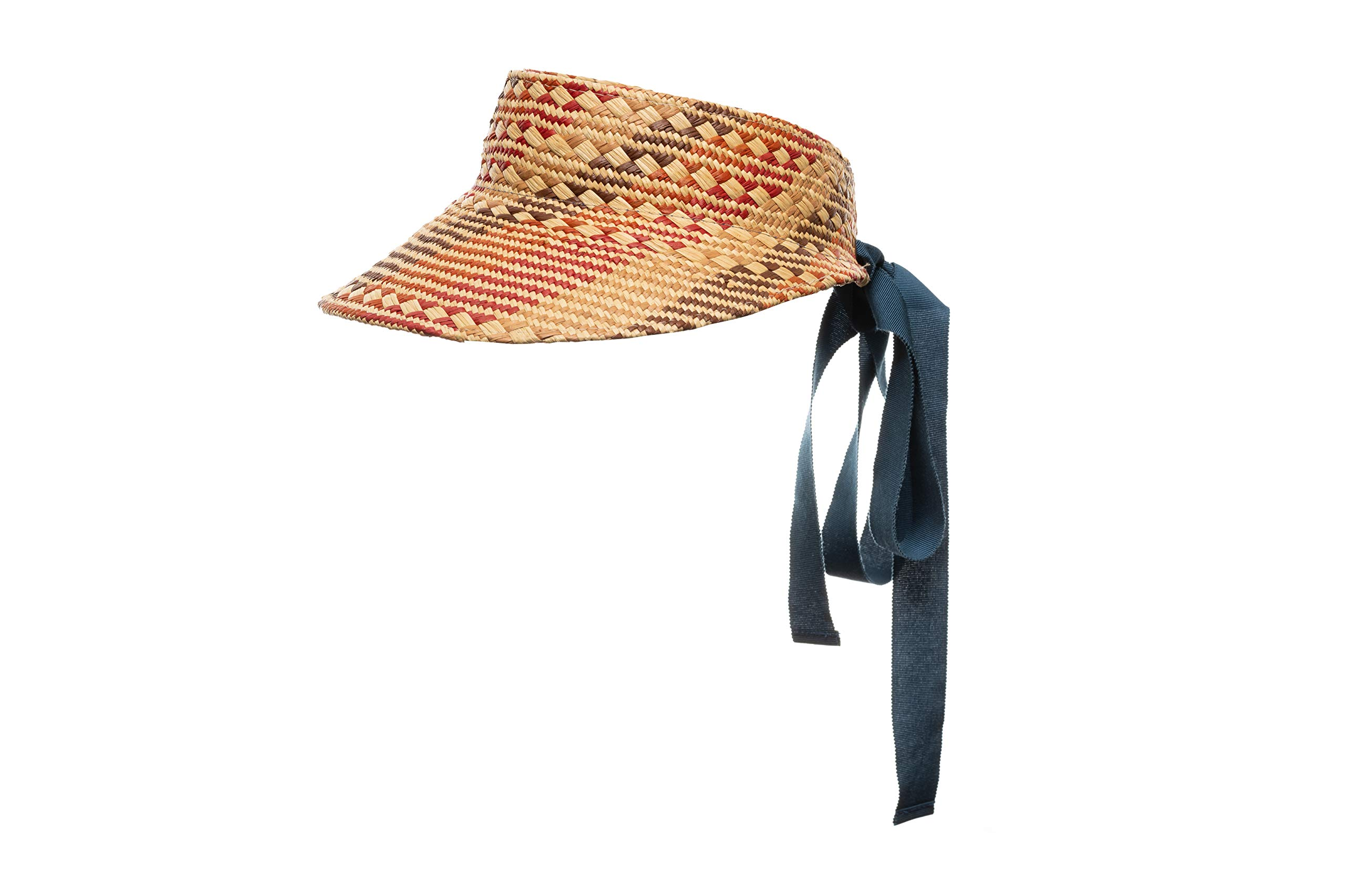 The Clementine Straw Visor with Ribbon Tie Closure (Red)