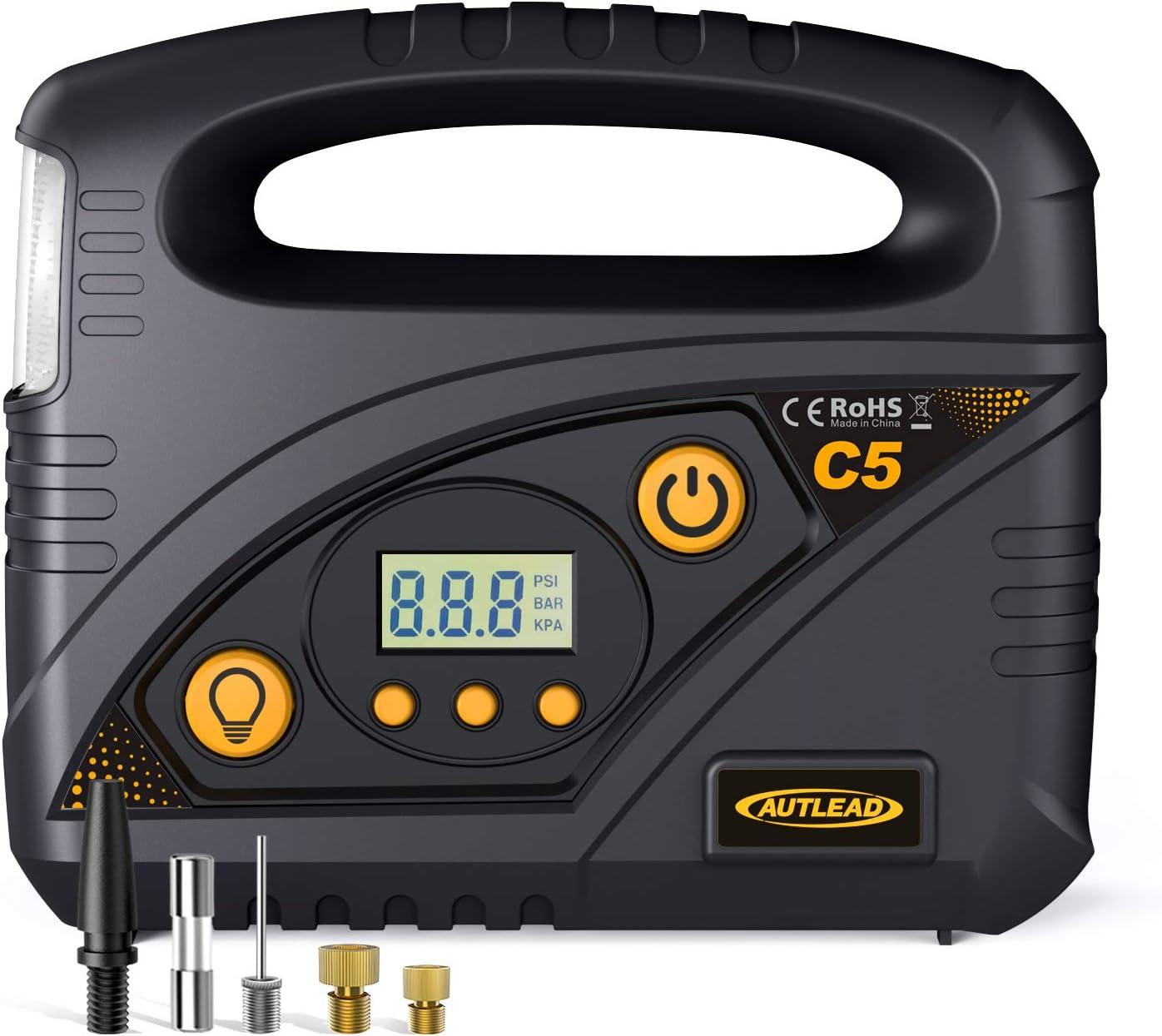 AUTLEAD C5 - Compresor Aire Coche, 12V Compresor de Aire Portátil, Compresor Ruedas Coche con Apagado Automático, Luz LED, Manómetro, 4 Adaptadores de Boquilla