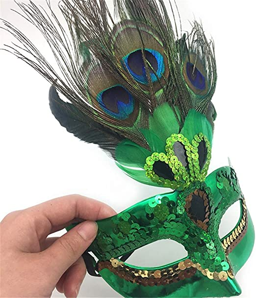 QWhing Máscara de Fiesta de Plumas de Pavo Real máscara de Navidad ...