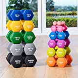 METIS Neoprene Hex Dumbbells Pair – Multiple Sizing Options | 1lb - 22lbs | Home Hand Weights