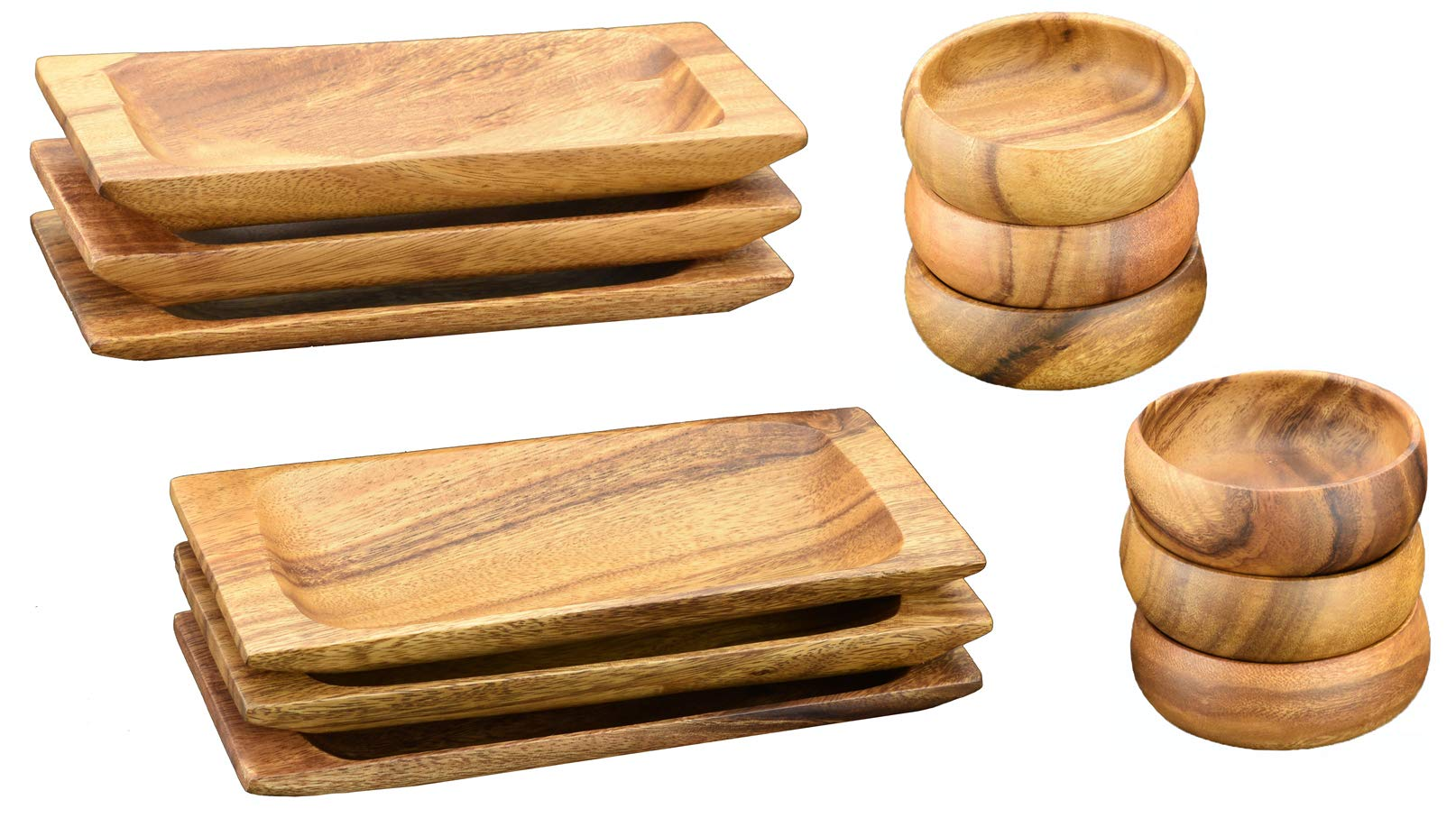 Acaciaware Acacia Wood Appetizer Trays, Sushi and Cheese Plates (9-inch by 4-inch) and Round Dip and Nut Bowls (4-inch by1.5-inch), Set of 6 (12 pcs total)