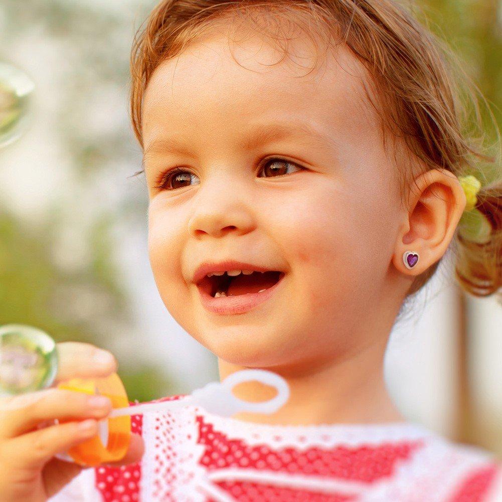 Rhodium Plated Hot Pink CZ Little Heart Screw Back Earrings for Babies Kids