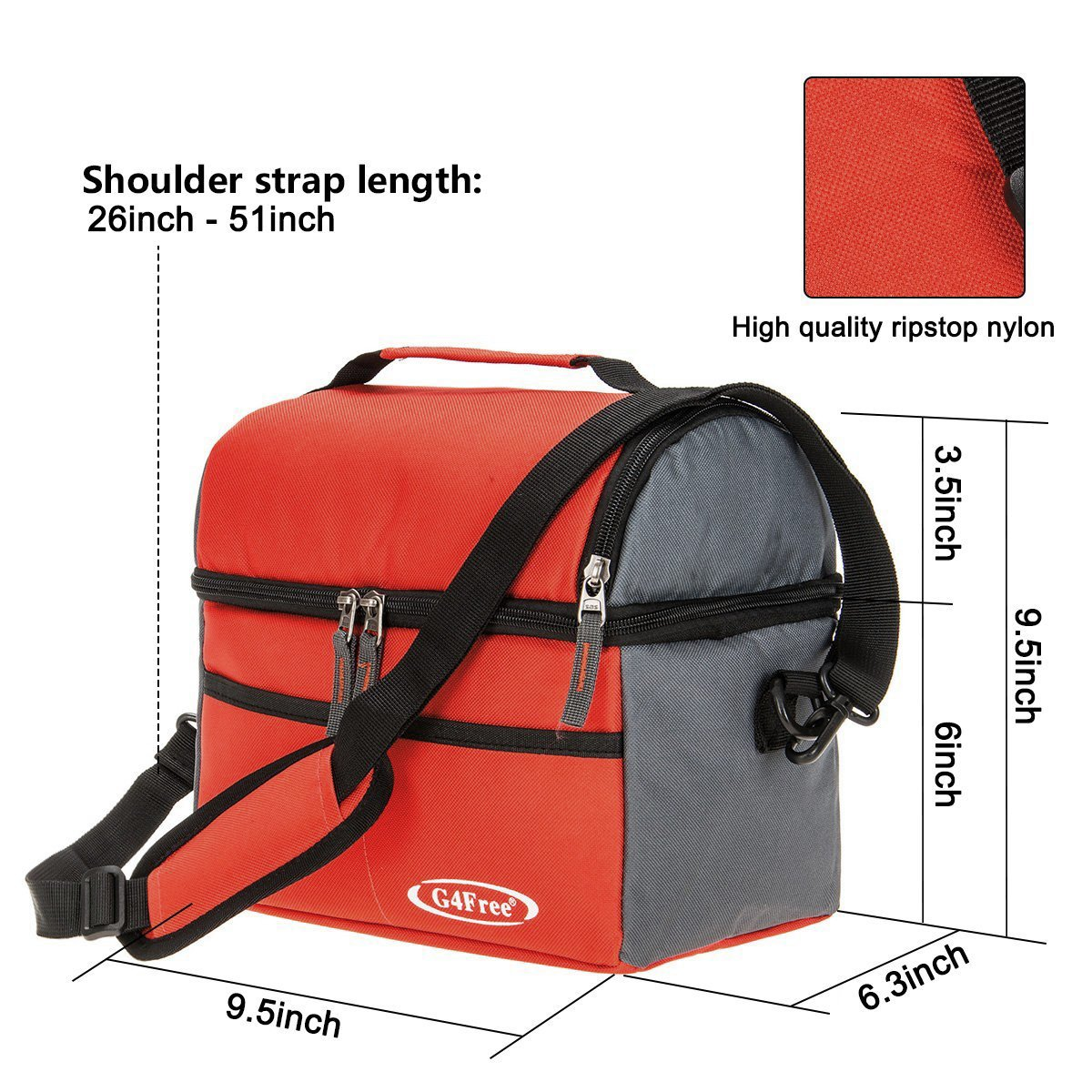refrigerador de doble plataforma G4Free bolsa de almuerzo aislada bolsa de refrigerador 10L para hombres mujeres