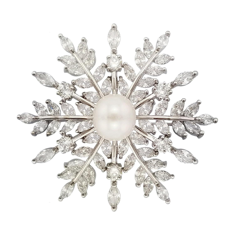 Silver CZ Pearl Snowflake Pin