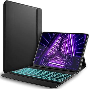 YGoal Teclado Funda para Lenovo Tab M10 Plus 2020, [7 Colors Backlit] [QWERTY Layout] PU Cuero Funda con Wireless Teclado para Lenovo Smart Tab M10 ...