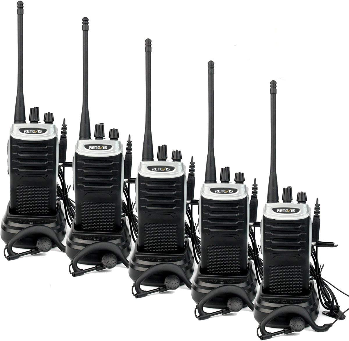 Retevis RT7 Walkie Talkies Rechargeable 16 CH UHF FM Two Way Radio (Silver Black Border,5 Pack)
