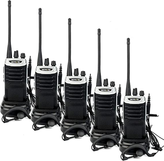 Retevis RT7 Walkie Talkie Rechargeable 3W 16 CH UHF FM Two Way Radio Silver Black Border,5 Pack and Programming Cable