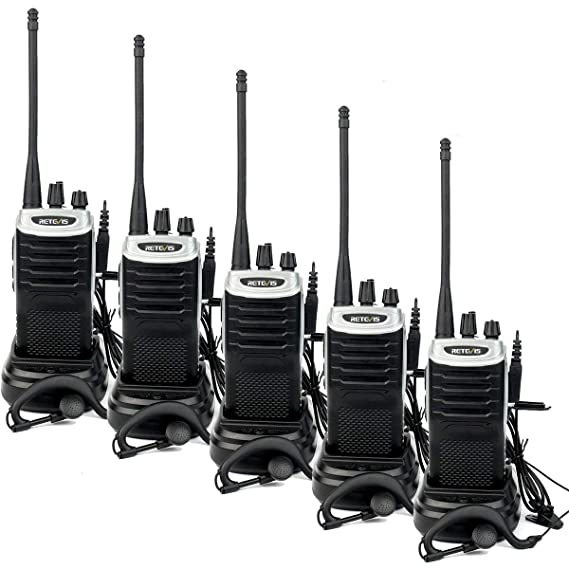 Retevis RT7 Walkie Talkie Rechargeable 3W 16 CH UHF FM Two Way Radio  (Silver Black Border,5 Pack) and Programming Cable