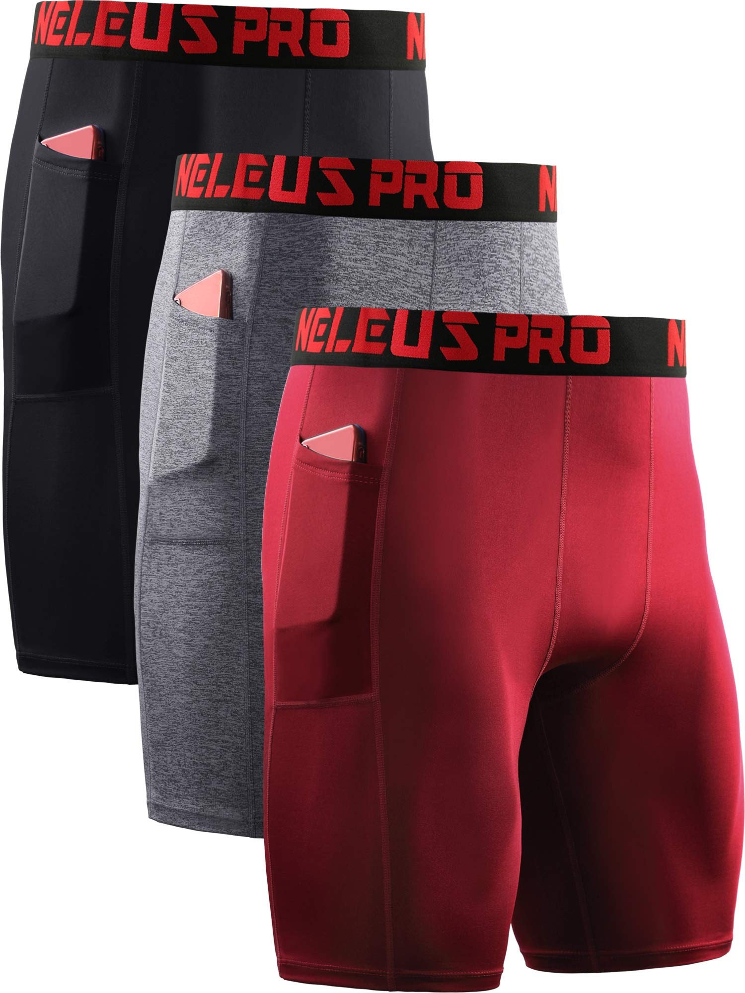 Neleus Men's Compression Shorts with Pockets 3 Pack,6064,Black/Grey/Red,US M,EU L by Neleus