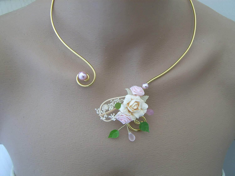 Collier 1 rang rose poudré Bijoux mariage.