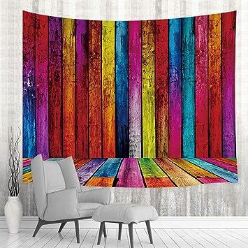 Amazon.com: Tapiz de pared de madera de colores rústicos ...