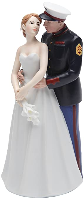 Cosmos Gifts 33267 Ceramic United States Marine Corps Wedding Couple Figurine 7 Inch