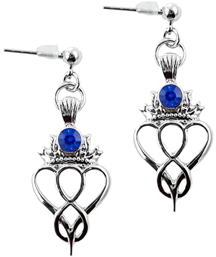010fd5780 Image Unavailable. Image not available for. Color: Celtic Heart Birthstone  Drop Earrings September Jewellery Silver Plated Blue Stone Scottish Gift