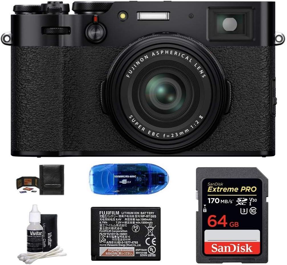 Fujifilm X100V Digital Camera (Black) Bundle Includes: SanDisk 64GB Extreme PRO SDXC Memory Card + Spare Fujifilm Battery + More (6 Items)