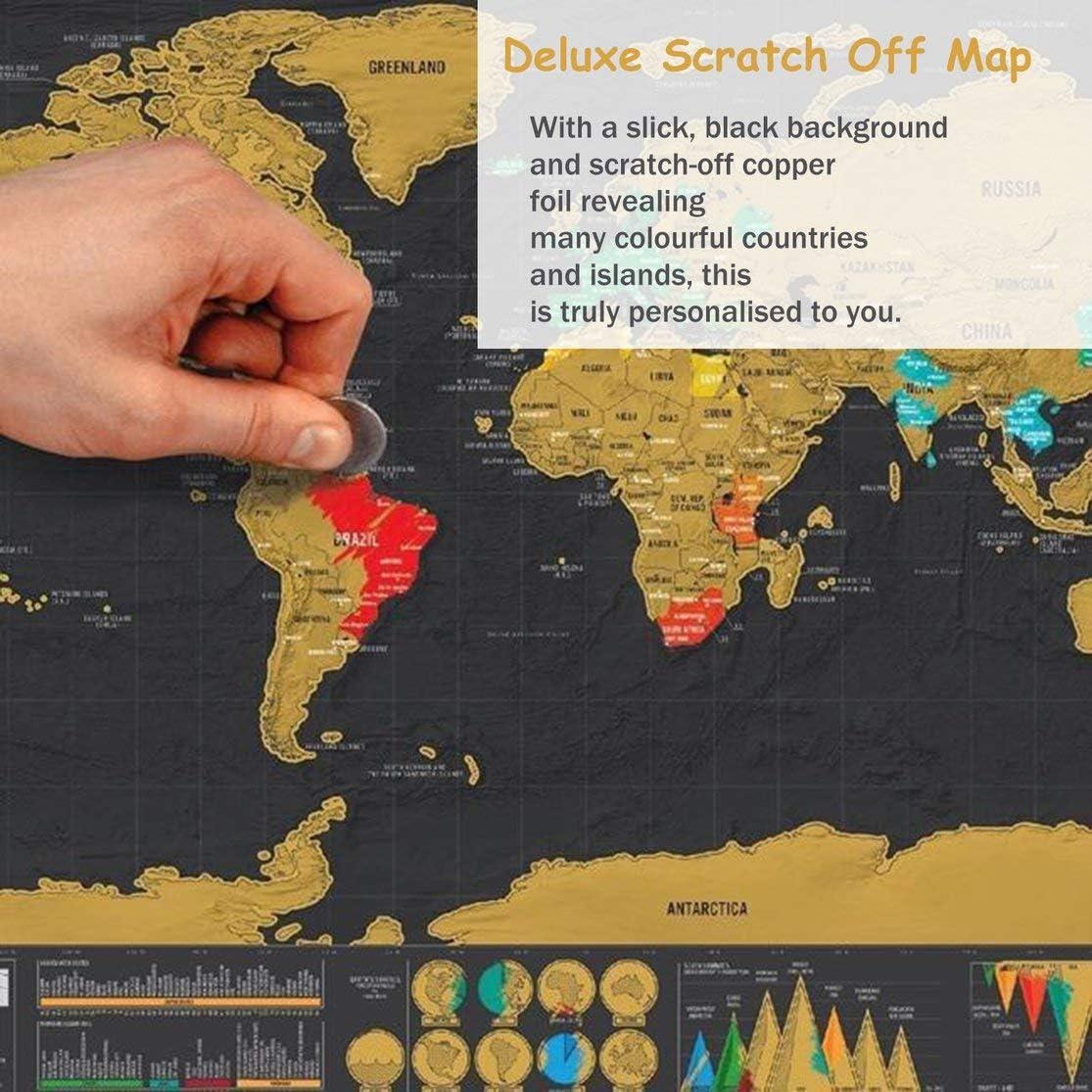 LouiseEvel215 Travel Scrape off Map Personalizzato Deluxe Scrape Map World Scrape off Foil Layer Poster di Rivestimento