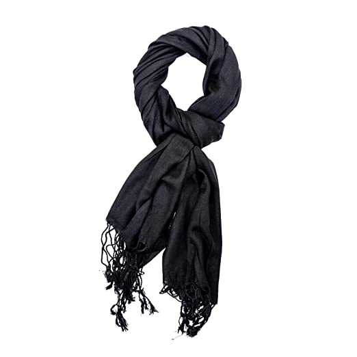 e61056b5a6446 Viscose Pashmina Scarf for Women Hibaj Wrap Large Soft Silky Shawl Solid  Colors