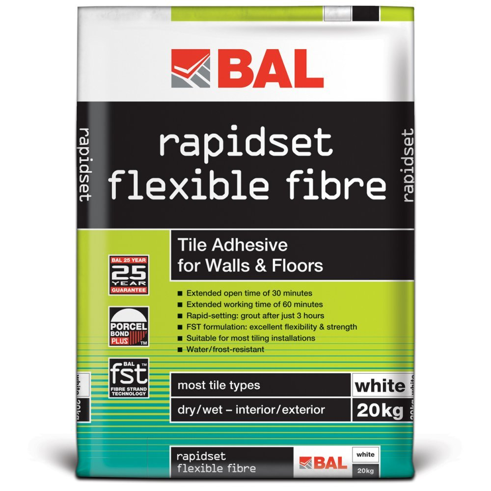 Bal rapidset flexible fibre tile adhesive for walls floors 20kg bal rapidset flexible fibre tile adhesive for walls floors 20kg white amazon diy tools dailygadgetfo Choice Image