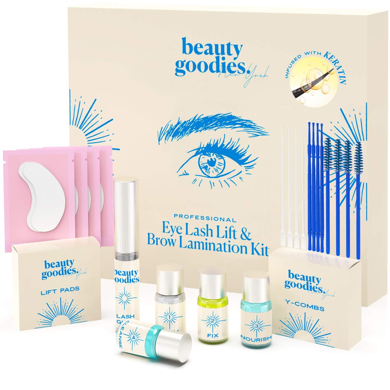 Lash Lift Kit & Brow Lamination Kit - KERATIN DIY Salon-Like Eyelash Perm Kit - Improved Quick-Dry Lash Perm Formula | Safe & Nourishing Eyebrow & Lash Lift | Lasting lifting result - BEAUTY GOODIES