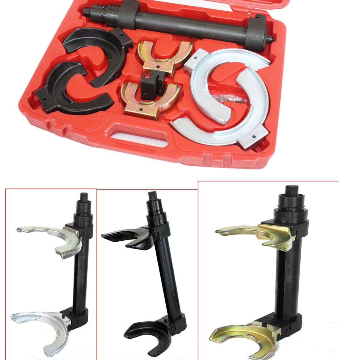 QuestCraft Auto MacPherson Interchangable Fork Strut Coil Spring Compressor Extractor Set by I_S IMPORT (Image #2)