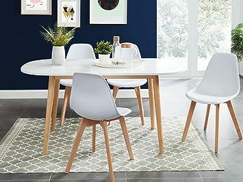 Homifab Table A Manger Scandinave Blanc Et Bois 160x80x75 Cm