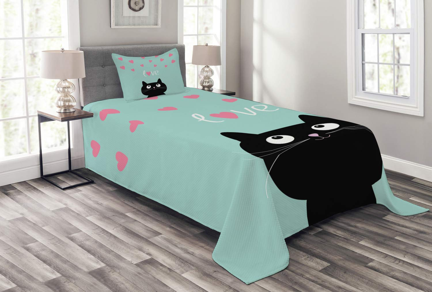 Lunarable Valentines Bedspread, Kitty Heart Cat Companions Kids Children Illustration, Decorative Quilted 2 Piece Coverlet Set with Pillow Sham, Twin Size, Seafoam Black
