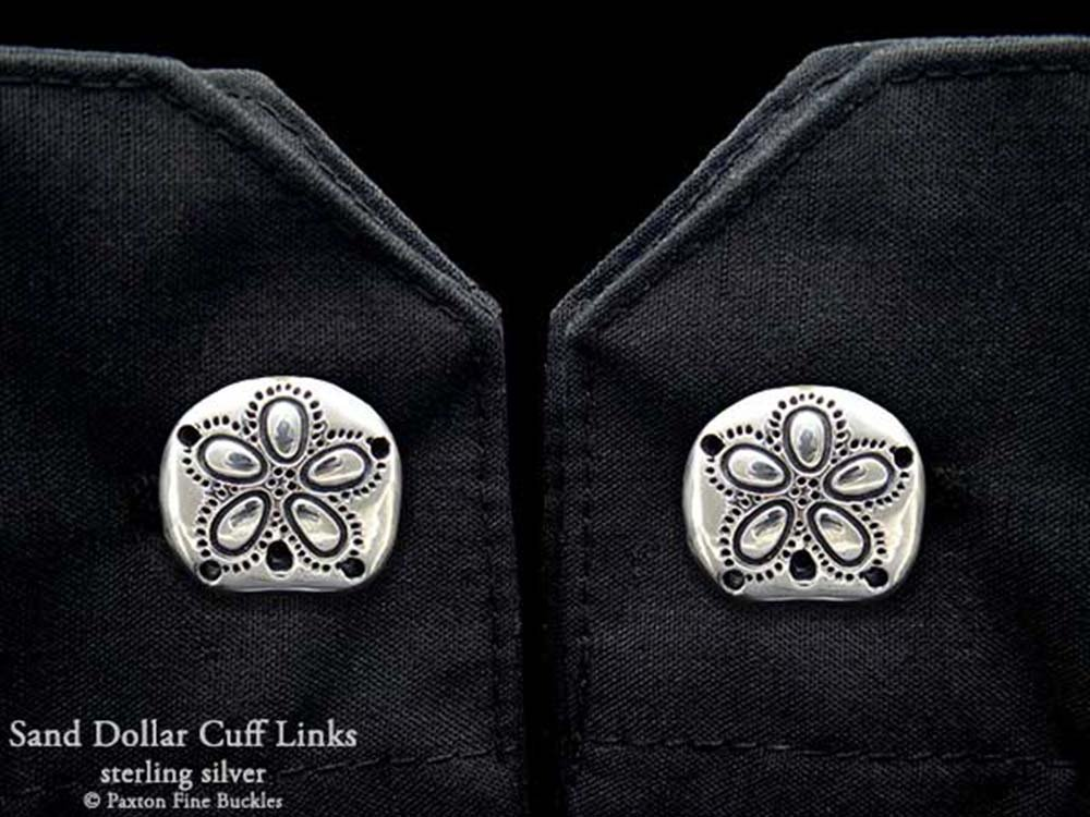Sand Dollar Cuff Links in Solid Sterling Silver Hand Carved & Cast by Paxton