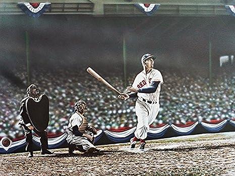 Buyartforless Canvas Ted Williams Swing By Darryl Vlasak 16x12 Painting Print On Wrapped Canvas Memorabilia Baseball Legend Boston Red Sox Made In
