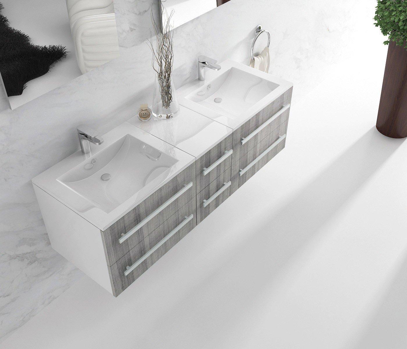 Awesome meuble salle de bain un vasque avec 2 mitigeurs - Vasque encastrable salle de bain ...