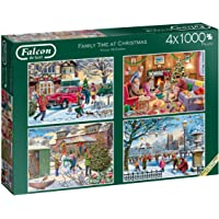 Jumbo 11269 Falcon de Luxe-Family Time at Christmas 4 x 1000 Piece Jigsaw Puzzles, Multi