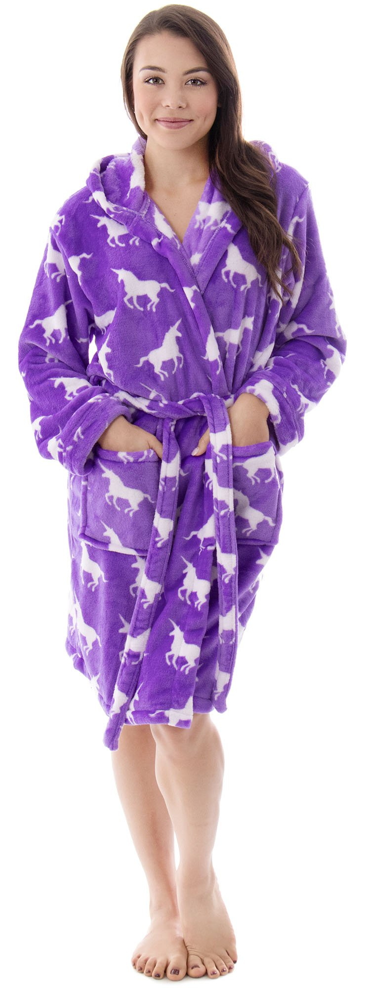 Hotel Spa Bathrobe Collection Textured Bath Robe Plush Robe for Women, Purple