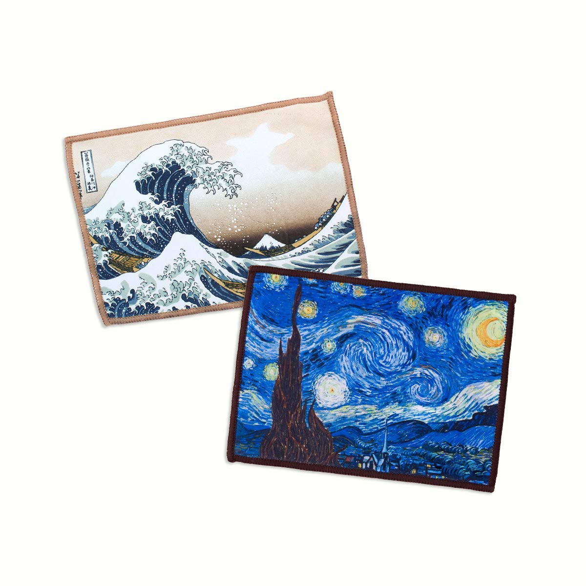 2-Pack Lynktec Smartie Microfiber Cleaning Cloth for iPad and Touch Screen (Hokusai Great Wave + Van Gogh Starry Night) by Lynktec