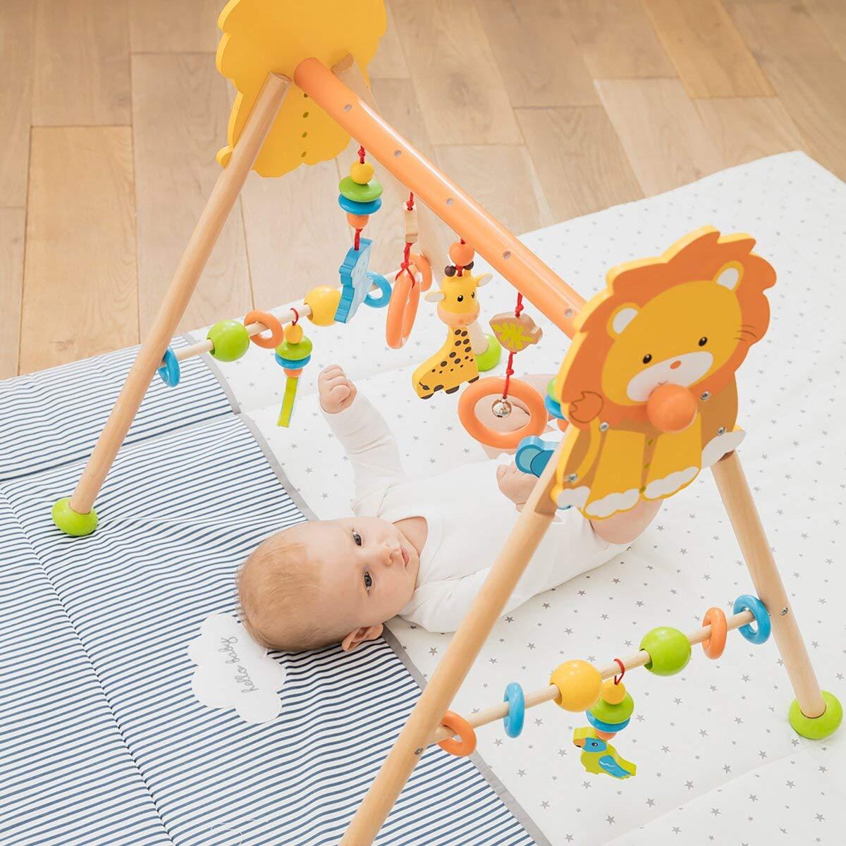 bunt//Natur h/öhenverstellbares Holztrapez mit vielen Spielm/öglichkeiten /& Figuren ab Geburt geeignet solini Spieltrapez Dschungel aus Holz