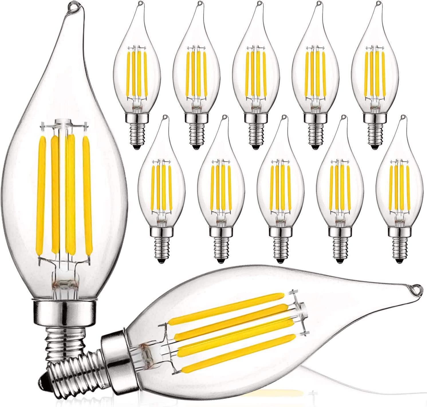 Luxrite Vintage Candelabra LED Bulb 60W Equivalent, 550 Lumens, 3000K Soft White, LED Chandelier Light Bulbs 5W, Dimmable, Flame Tip Clear Glass, Filament LED Candle Bulbs, E12 Base (12 Pack) - -