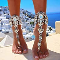Woeoe Rhinestone Anklet Silver Crystal Barefoot Sandals Foot Chain Pearl Anklets Foot Chain Beach Foot Charm Jewelry for…