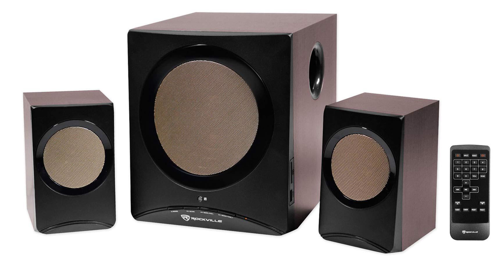 Rockville Rock Media Bluetooth Bookshelf Speaker System w/Sub/USB/SD/FM+Remote