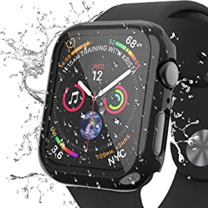 AISIBY IPX7 Waterproof Case Compatible for Apple Watch Series 3/2/1 38mm with Screen Protector Accessories Guard Thin Bumper Full Coverage for iWatch Women Men (Black)