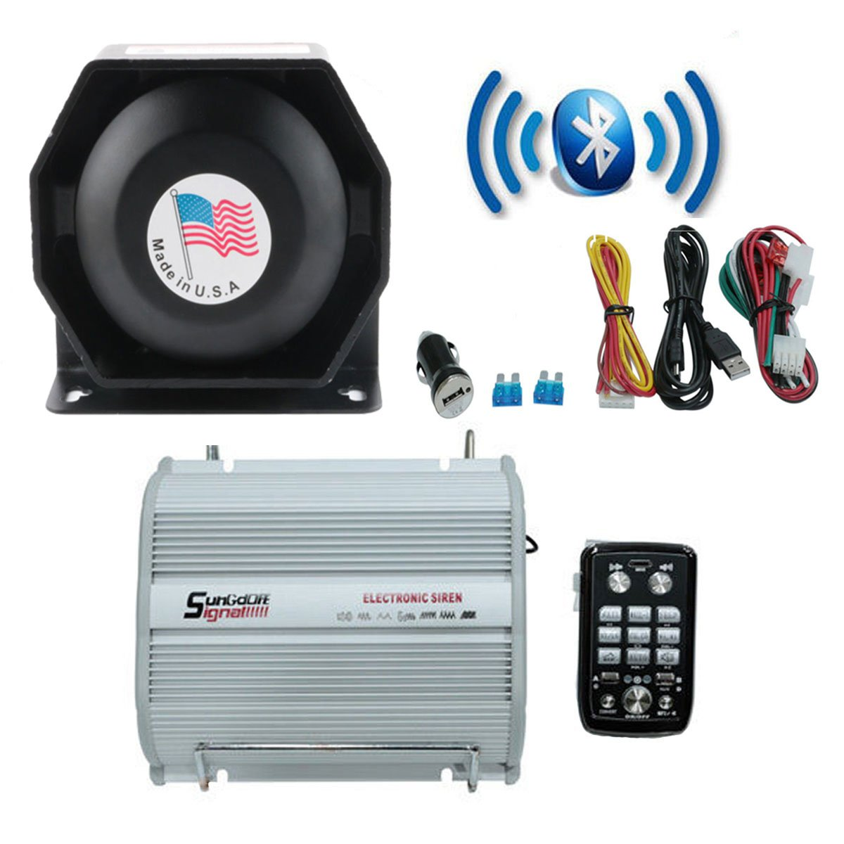 Amazon.com: DENG 200W 8 Sound Car Warning Alarm Police Fire Siren ...