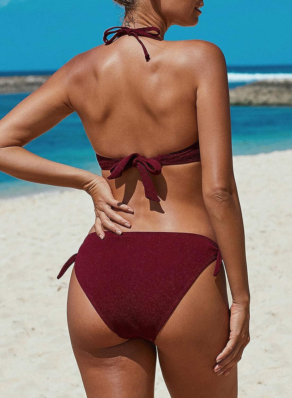 Dearlove Womens Tie Die Gradient Color Strapless Bikini Set Twist Bandeau Swimsuit