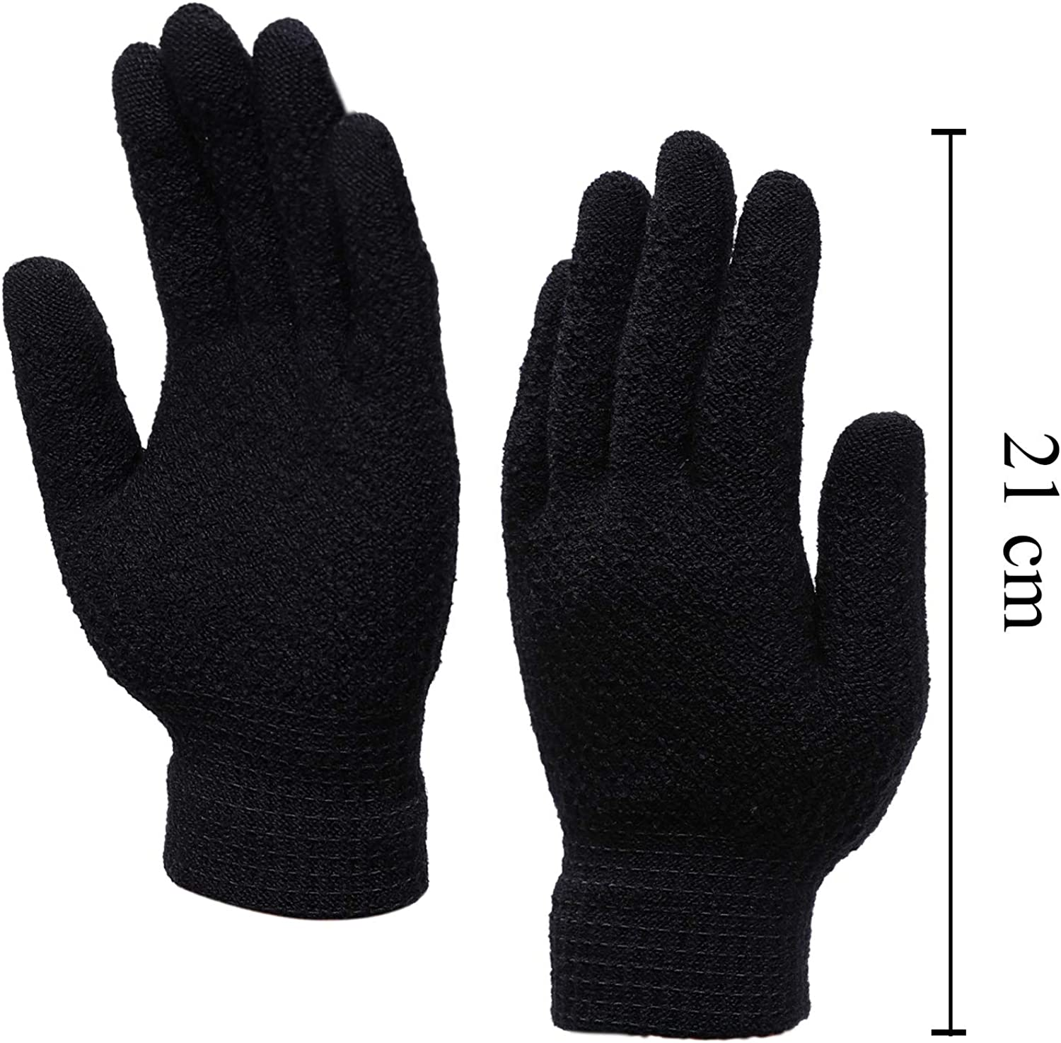 Cooraby 12 Pairs Winter Magic Gloves with Warm Thermal Lining Stretchy Knitted Jacquard Weave Gloves for Men Women or Teens