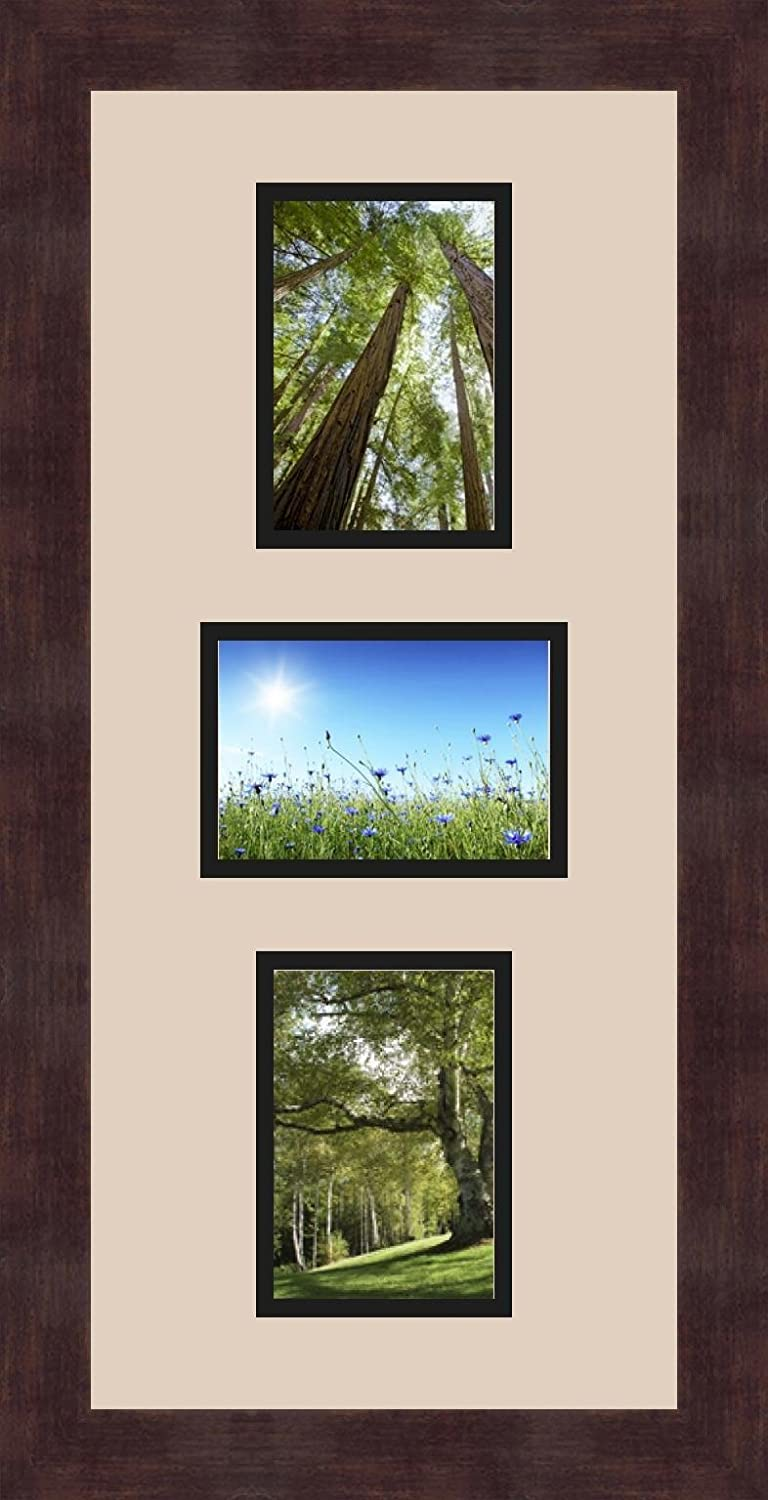 Art to Frames Double-Multimat-214-782//89-FRBW26061 Collage Frame Photo Mat Double Mat with 3-3.5x5 Openings and Espresso Frame