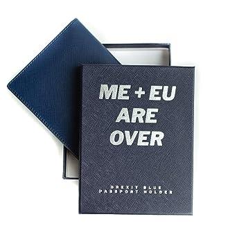 Inspiring Adventures Cartera de pasaporte, bloqueo RFID de cuero de lujo, titular de pasaporte premium, caja de regalo (Brexit Blue): Amazon.es: Equipaje