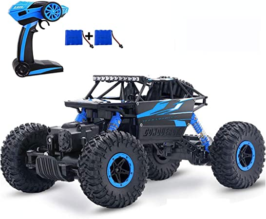 Image ofSZJJX Control Remoto Coche Off-Road RC Trucks Vehículo Potente 2.4Ghz 4WD 1:18 Carreras Escalada Coches Radio Electric Rock Crawler Buggy Hobby Toy para niños Regalo (Azul)