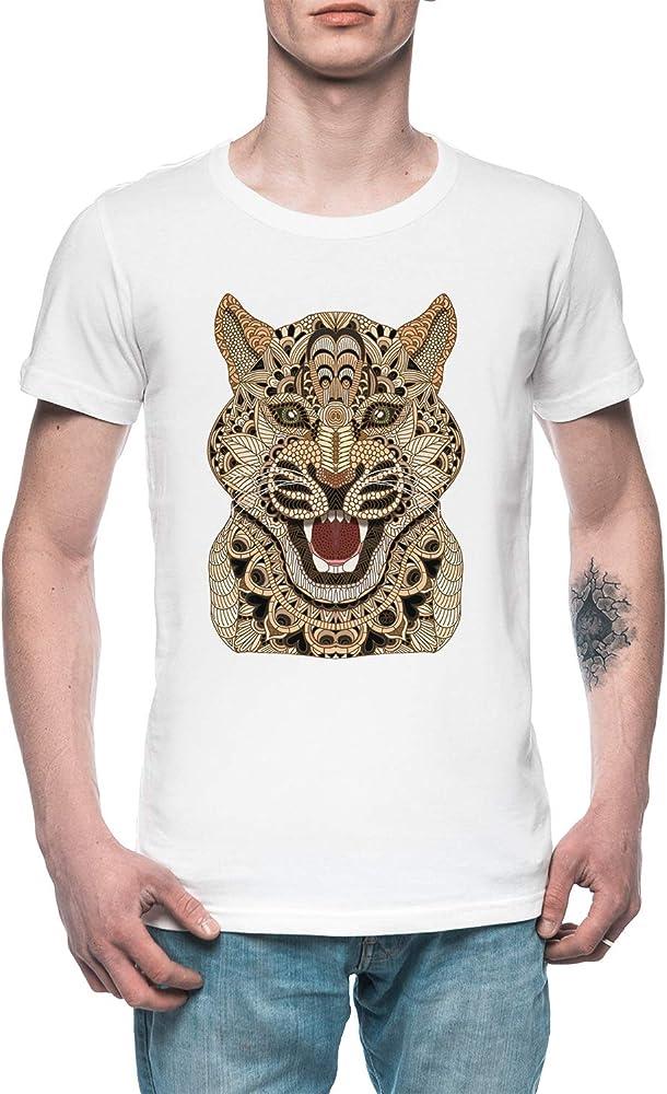 Leopardo Hombre Camiseta tee Blanco Mens White T-Shirt: Amazon.es: Ropa y accesorios
