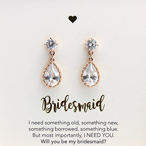 cz media earrings bridesmaid jewelry wedding dangley bridal
